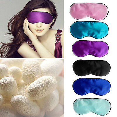 1PC Pure Silk Sleep Eye Mask Padded Shade Cover Travel Relax Aid Blindfold Hot