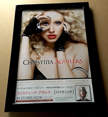 2010 Christina Aguilera Bionic JAPAN album promo mini poster ad FRAMED 7ir