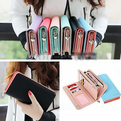 US Women Leather Bifold Clutch Card Case Holder Purse Phone Long Wallet Handbag