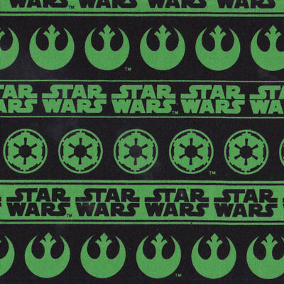 Green Star Wars Words on Black Boys Kids Licensed Quilt Fabric FQ or Metre *New*