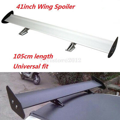 Silver Universal Aluminum Adjustable Single Deck Rear Trunk GT Wing Spoiler
