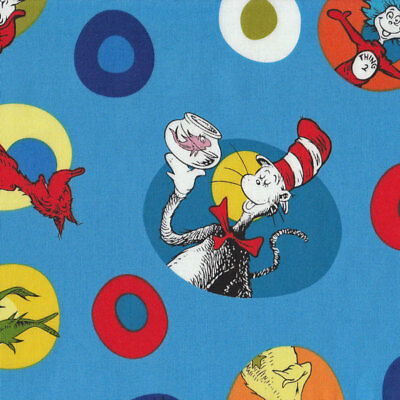 Dr Seuss Cat in Hat Green Eggs and Ham Kids Quilt Fabric FQ or Metre *New*