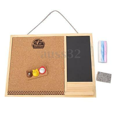 11.2x8.5'' Wooden Framed Cork Pin Notice Memo Board For Office Home Kitchen