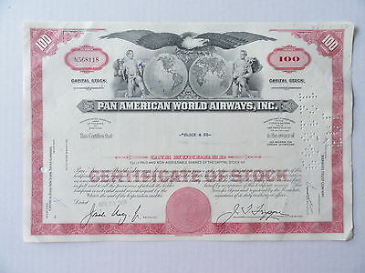 Pan Ameican World Airways Stock Certificate N568118 100 Shares 1968