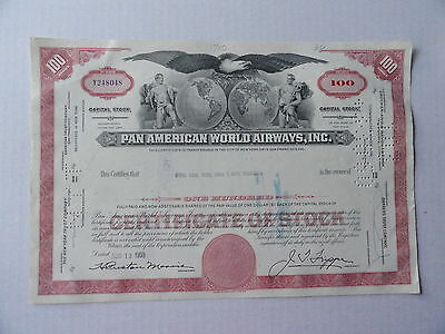 Pan Ameican World Airways Stock Certificate Y248048 100 Shares 1959