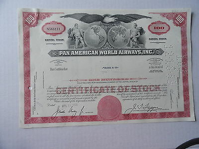 Pan Ameican World Airways Stock Certificate 100 Shares 1968