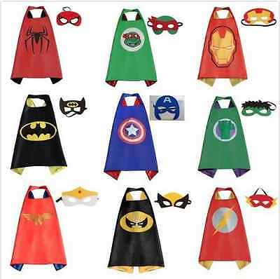 New Kids Superhero Cape & Mask Party Costume Set Superman Batman Spiderman