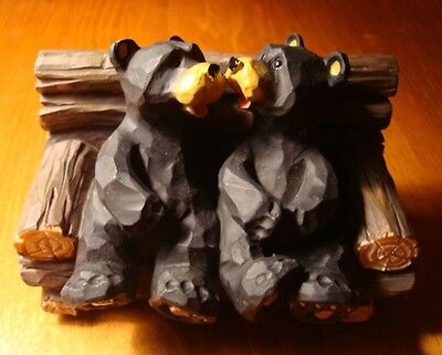 BLACK BEAR COUPLE KISSING ON CABIN PORCH PARK BENCH Faux Wood Carved Figurine