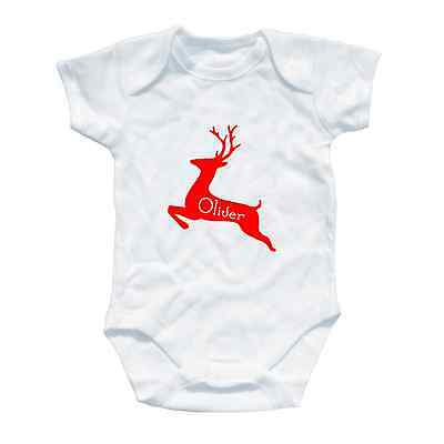 Personalised Chirstmas Baby Grow Gift First All In One Toddler Rudolph Reindeer