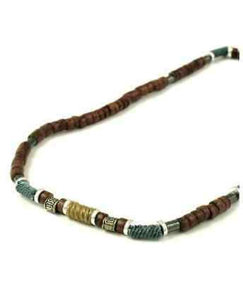 Mens Boys Surfer Style Coco Wood  & Metal Necklace Choose Design
