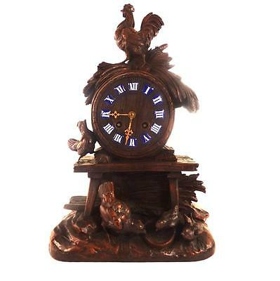 Antique German Swiss Black Forest Carved Wood Clock Chickens 8 Day Movement