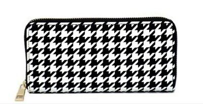 Ladies girls Womens Purse - Black & White Hounds Tooth Check Pattern - Brand New