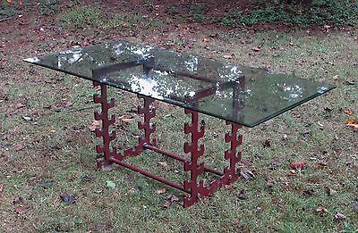 Vintage Industrial Factory Cast Iron Dining Room Table Base Repurposed
