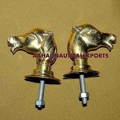 Vintage Brass Door Horse Knobs Handle Wide Backing Plates Architectural