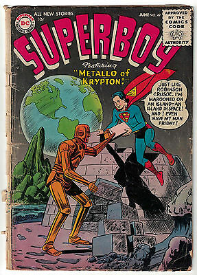 DC Comics SUPERBOY Issue 49 Metallo Of Krypton! GD-