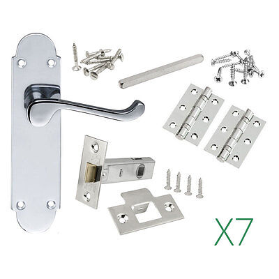 7 Sets of Epsom Door handles in Polished Chrome Inc hinges and latches 168x42mm