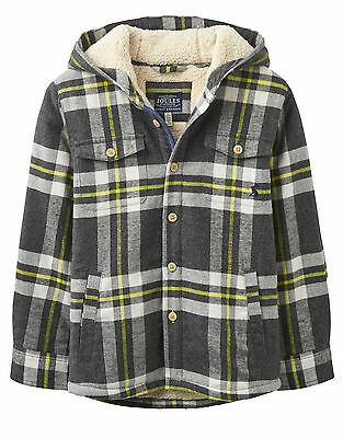 Joules Jounior Checked Hooded Shacket - Grey Check