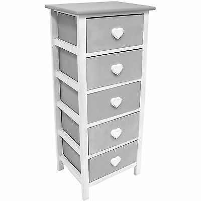 Sale Hartleys White & Grey 5 Drawer Heart /chest Of Drawers - Faulty #739