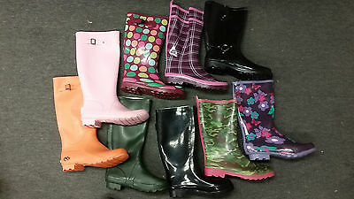 8 PAIR JOB LOT Rubber Wellington Boots ASSORTED SIZES AND COLOURS