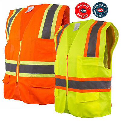 Class 2 Two Tone High Visibility Safety Vest w/ Reflective Strips Pockets-9811/2
