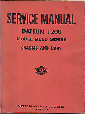 Datsun Nissan 1200 Model B110 Sunny Chassis & Body Service Manual 1970-1973