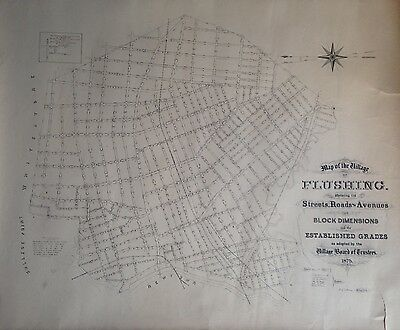 Orig 1875 Flushing Ny Streets Roads And Avenues Map