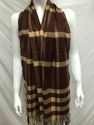 100% Cashmere Scarf Made In Scotland Plaid Design Color Brown Gold Super Soft