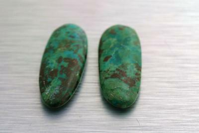 Natural Green Chrysocolla Oval Pair Cabochon Untreated Chrysacolla Gemstone