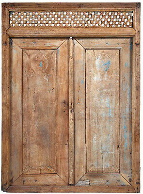 """65"""" L Alexis door hand carved crafted unique distressed paint brown finish"""