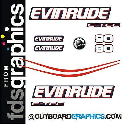 Evinrude 90hp E-TEC outboard engine decals/sticker kit