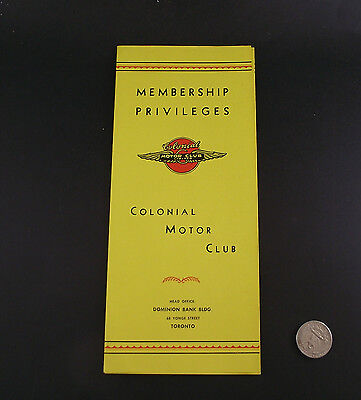 Colonial Motor Club Dominion Bank  68 Young St Membership Privileges Brochure