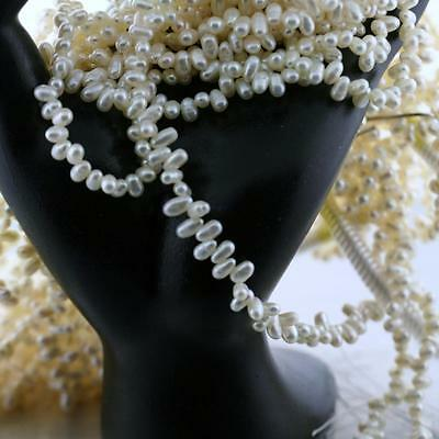 """Natural White Rice Freshwater Pearl 16"""" Bead Strand 4x6mm Jewelry making"""