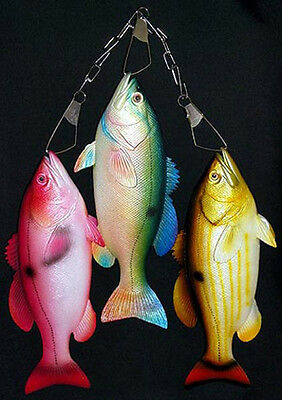 """Set of (3) 12"""" Snapper Fish Replica on a Metal Stringer~Wall Plaque Decor Mount"""