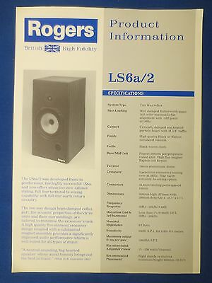 Rogers Ls6A/2 Sales Brochure Original Factory Issue The Real Thing