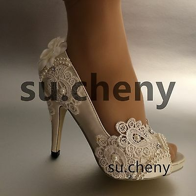 "3"" 4"" heel white ivory silk lace open toe pearls Wedding shoes Bride size 5-9.5"