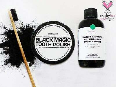 CHARCOAL POWDER TOOTH POLISH + 250ml MINT OIL PULLING MOUTHWASH + TOOTHBRUSH