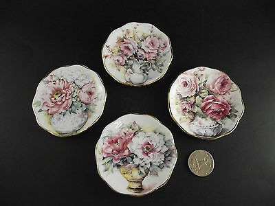 4 Floral Fine Bone China Made In England Butter Pats