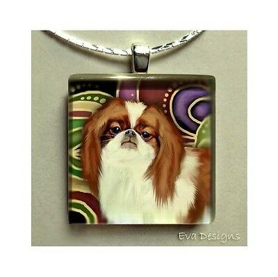 Red Japanese Chin Charm Dog Art Gift Necklace Jewelry Glass Tile Pendant & Chain