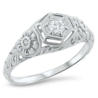 Engagement Wedding Antique Style 925 Sterling Silver Cz Ring Size 6.75,     #839