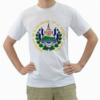 New El Salvador Coat of Arms for Men's White T-Shirt FREE SHIPPING