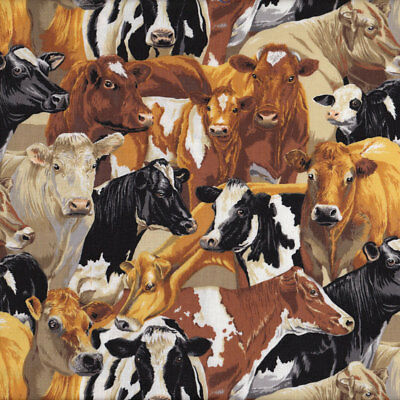 Brown Black White Cows Farm Animal Country Quilt Fabric FQ or Metre *New*