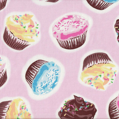 Large Cupcakes Kicthen Baking Cup Cakes on Pink Quilt Fabric FQ or Metre *New*