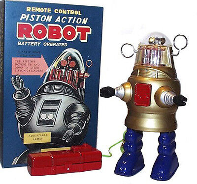 Piston Action Robby the Robot Tin Toy Battery Operated Gold
