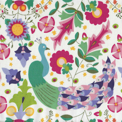 Enchanted Garden Peacock Flowers Girls on White Quilt Fabric FQ or Metre *New*