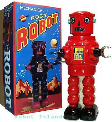 R-35 Tin Toy Robby the Robot version Windup Red Masudaya Style