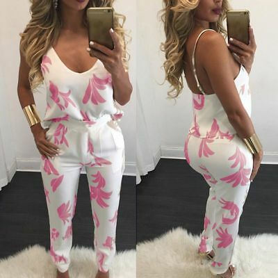 women 2 pieces V-neck top & long pants floral printed outfits jumpsuit romper