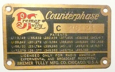 vIntage *  BREMER TULLY COUNTERPHASE TUBE RADIO part:  BRASS NAMETAGE & SCREWS