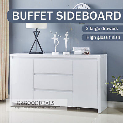 New Gloss White TINA Designer Buffet Sideboard Cabinet 2 Door 3 Drawer 4037WH