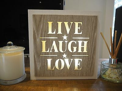 Live Laugh Love Wooden LED Night Light Up Hanging Free Standing Plaque Sign