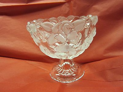 Wather Glass Pedestool Candy Dish with Frosted Rose Design